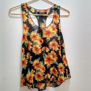 🕸️Shear Sunflower Tank Top